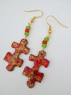 Christmas Earrings Upcycled Puzzle Piece  Red by savardstudios, $12.00