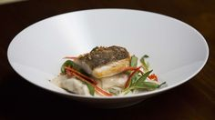 Snapper with Dumplings, Broth and Daikon Noodles