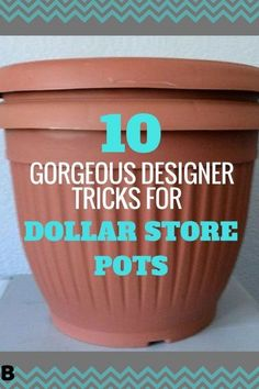 Decor DIY Here Are 10 Gorgeous Designer Tricks for Your Dollar Store Pots how to upcycle cheap flower pots, container gardening, crafts, gardening, Share these with fellow thrifty gardeners 🌷🌺🌻 Garden and Gardening Project I. Garden Types, Dollar Store Crafts, Dollar Stores, Dollar Store Decorating, Decorating Jars, Dollar Dollar, Dollar Items, Container Gardening, Gardening Tips