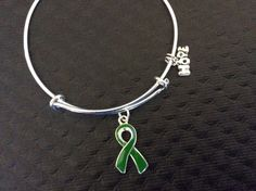 Green Awareness Ribbon Expandable Charm Bracelet Adjustable Bangle Gift (Other Awareness Ribbons Available)Green Awareness Charm on a silver plated Bangle / Alex and Ani Inspired Silver Plated Bangle Lyme Disease Cerebral Palsy Kidney Cancer