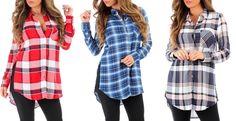 Women's Button Down Plaid Tunic