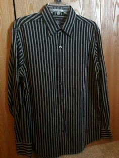 J. Ferrar MENS DRESS SHIRT SIZE M 15-15.5 LONG SLEEVE 100% COTTON black/white #JFerrar #BUTTONDOWN