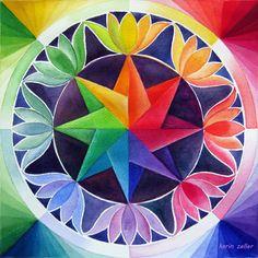 ⊰❁⊱ Mandala ⊰❁⊱ Colour wheel II by Karin Zeller New Rangoli Designs, Free Hand Rangoli Design, Rangoli Ideas, Beautiful Rangoli Designs, Color Wheel Design, Color Wheel Art, Elements Of Art Color, Elements Of Design, Mandalas Drawing