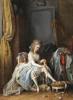 1780 Young Woman at Her Toilette Attributed to Niklas Lafrensen, called Nicolas Lavreince ca. 18th Century Clothing, 18th Century Fashion, Art Ancien, 18th Century Costume, Rococo Style, Classical Art, Historical Costume, Cat Art, Art History