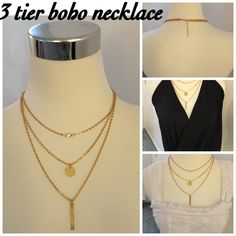 """3 tier boho necklace   3 tier , yellow tone boho necklace. Shortest necklace measures is 19"""" full length with 3"""" drop depending how long/short you wear it . Dress it up or down  Jewelry Necklaces"""
