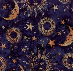 Celestial on pinterest sun moon sun and moon phases for Celestial pattern fabric