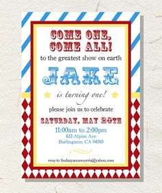 Carnival Or Circus Party Invitations  Diy File  Kids Party