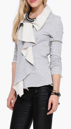Comfy Sweatshirt Jacket in Heather grey