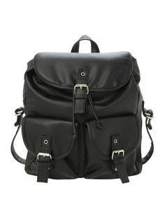 Black PU slouch backpack with snap-button and drawstring closure. ul  li  x  x materials  li  li Imported  li   ul  8e32f086c5bdf