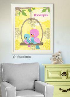 Baby Nursery Decor  Birds Nursery Art Birds Baby by MuralMAX, $20.00