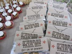 S'mores trail mix -- perfect for a cowboy party! Cowboy Birthday Party, Cowgirl Party, Birthday Parties, Cowboy Theme, Western Theme, Western Cowboy, Birthday Ideas, Woody Party, Wild West Party
