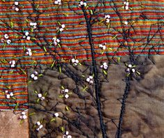 I love this woman's textile art:  SPRING TREE  Mini Textile Art Embroidery Art by BozenaWojtaszek,