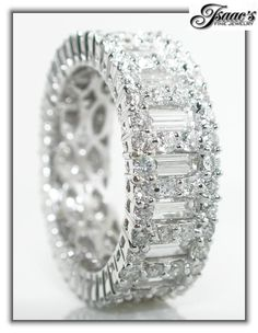 diamond wedding bands with baguettes | CT Baguette and Round DIAMOND Eternity Wedding Band 18 K White Gold