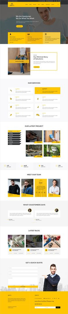 Hanyman is clean and modern design PSD template for #handyman services website with 3 homepage layouts and 30+ layered PSD pages to live preview & download click on Visit #webdesign