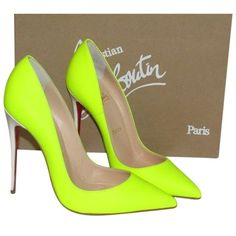 Pre-owned Christian Louboutin So Kate Jazz Matte Neon Yellow Pumps ($699) ❤ liked on Polyvore featuring shoes, pumps, matte neon yellow, neon yellow stilettos, high heels stilettos, yellow pointed toe pumps, low pumps and yellow shoes