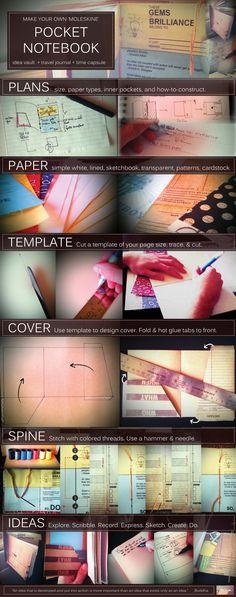 How to make your own pocket sized travel notebook. Pocket Notebook, Moleskine Notebook, Diy Notebook, Travel Crafts, Scrapbook Journal, School Projects, Diy Projects, Altered Books, Book Making