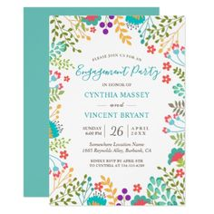 #Fresh Pastel Floral Garden Engagement Party Card - #engagement #party engagement partywedding showerwedding