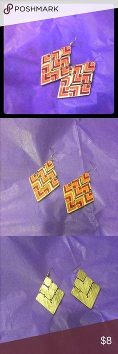 Geo Pattern Statement Earrings Triangle Earrings with Gold Base. Never Worn Jewelry Earrings