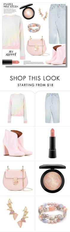 """So Sweet: Pastel Sweaters"" by the-geek-goddess ❤ liked on Polyvore featuring The Elder Statesman, AGOLDE, Malone Souliers, MAC Cosmetics, Tai, New Directions and pastelsweaters"