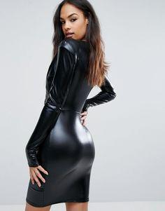 9ff92cb67 Club L V Neck High Shine Mini Dress With Shoulder Pads - Black Club Dresses,  Day