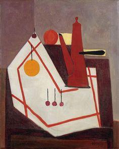 thunderstruck9:  Óscar Domínguez (Spanish, 1906-1957), Nature morte à la cafétière [Still life with coffee pot], 1950. Oil on canvas, 55.4 x 46.3 cm.