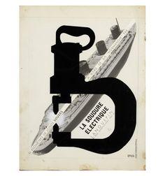 Francis Bernard La Soudure electrique [Electric Welding] ca. 1930 Gelatin silver print, gouache & cut pap...