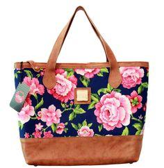 Bolsa Noronha couro e floral azul. (LINHA PREMIUM) R$265.00