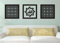 Modern Islamic Arabic Calligraphy Wall Art by Sukar Decor Makes a great gift or addition to your home or office! This islamic wall art set includes 3 frames Design Fretwork Arabic Calligraphy Size: Color: Black This set is also available in White. Fence Wall Design, Islamic Wall Art, Islamic Architecture, Modern Wall Decor, Wall Art Sets, Great Gifts, Arabic Calligraphy, Eid, Color