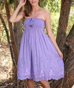 Another great find on #zulily! Lilac Shirred Eyelet Convertible Strapless Dress by Ananda's Collection Super cute for the summer!