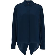 French Connection Super Silk Shirt, Nocturnal ($120) ❤ liked on Polyvore featuring tops, blue collared shirt, blue long sleeve shirt, long sleeve silk shirt, blue silk top and long-sleeve shirt