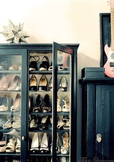 what, what? storing pretty shoes in a glass front bookcase? Much better than my wire bin on the floor of my closet...