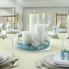 First Communion Centerpieces Beach Theme Centerpieces, Communion Centerpieces, Communion Decorations, Candle Centerpieces, Pillar Candles, Table Decorations, Centerpiece Ideas, Centerpieces For Baptism, Wedding Decorations