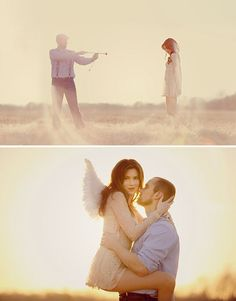 This is such a clever and cute engagement photo session idea. | Photography | Romantic Couple | Love | Wedding