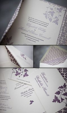 Eggplant + lavender Chasseral letterpress wedding invitations, folios and lined envelopes
