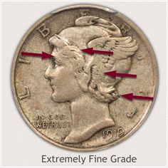 Areas to Judge and Identify on the Obverse an Extremely Fine Grade Mercury Dime How To Clean Coins, Silver Value, Old Coins Value, Silver Coins For Sale, Old Coins Worth Money, Sell Coins, Valuable Coins, Native American Symbols, Silver Dimes
