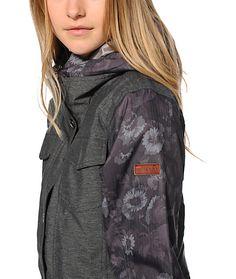 Roxy Rizzo Grey Floral 10K Snowboard Jacket