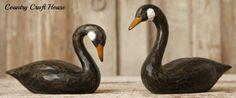 New Primitive Country Folk Art Carved Set 2 BLACK GOOSE Duck Swan Decoy
