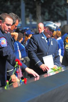 FDNY members visited the 9/11 Memorial on the 12th anniversary of the attacks.