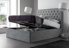 Maxi Steel Grey Upholstered Ottoman Storage Bed Frame Only - Storage Beds - Beds King Size Storage Bed, Bed Frame With Storage, Under Bed Storage, Storage Beds, King Size Beds, Grey Storage Bed, Bed Designs With Storage, Steel Bed Frame, Grey Bed Frame