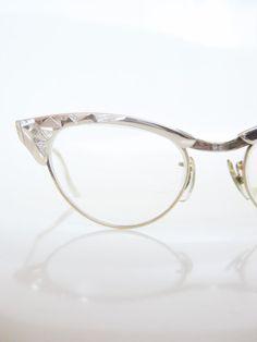 dbb3bde0c8 Vintage 1960s Cat Eye Eyeglasses Glasses Sunglasses Geometric Gold Metallic  Cateye Optical Frames Ladies Womens Geek Chic Nerdy
