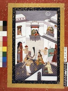 Painting from an album containing thirteen Rajasthani and provincial Mughal miniature paintings.    The setting of this unusual ceremony is in a courtyard in a zenana or the women's quarters of a palace or large mansion.