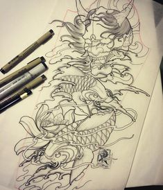 Hanya and 2 kois for my clients full sleeve Japanese Koi Fish Tattoo, Japanese Tattoo Designs, Japanese Sleeve Tattoos, Full Sleeve Tattoos, Koi Tattoo Design, Sketch Tattoo Design, Chest Piece Tattoos, Body Art Tattoos, Small Girl Tattoos