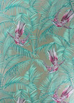 Gold & Pink Sunbird Wallpaper - Wallpaper - Matthew Williamson