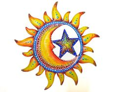 Sun and moon painted wall decoration - patio decor on Etsy, $20.00