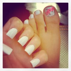 Nail ideas, white nails and toes.