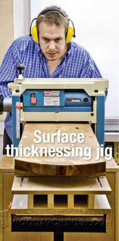 Surface Thicknessing Jig - Planer Tips, Jigs and Fixtures - Woodwork, Woodworking, Woodworking Plans, Woodworking Projects Woodworking Planer, Woodworking Workshop, Carpentry, Woodworking Projects, Wood Planner, Wood Jig, Diy Shops, Wood Tools, Wood Creations