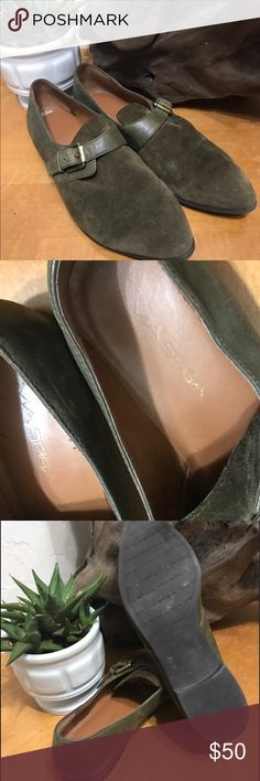 Via Spiga Green Suede Buckle Loafers 8 Beautiful soft green suede loafers. Would look great with socks and a skirt, shorts or jeans! Great summer shoe. Via Spiga Shoes