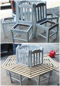 DIY Recycled Chair Around Tree Bench Instruction-- Ways to Repurpose Old Chairs DIY Ideas DIY Repurposed Chair Craft Ideas Projects [Picture Instructions]: Salvage Old Chairs into New Furniture for Home Decoration, Organization and Garden Uses. Recycled Decor, Repurposed Furniture, New Furniture, Furniture Projects, Furniture Makeover, Wood Projects, Painted Furniture, Furniture Design, Reupholster Furniture