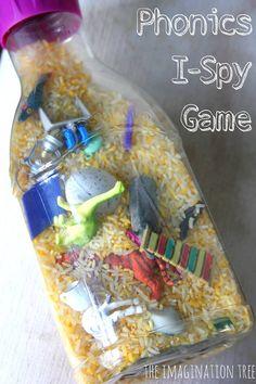 Phonics I Spy Bottle - Love this idea                                                                                                                                                                                 More