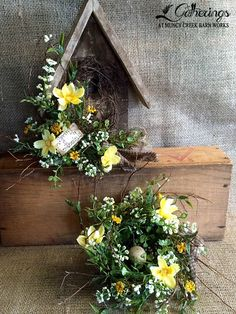 """March 29, 30 or 31 """"Spring Accents Pieces"""" Sharon Culver Add a little """"spring"""" to your decor with these charming accent pieces!  Choose the 8.5"""" high rustic birdhouse shelf sitter or the matching 5"""" twiggy decorated nest. Can't decide?!  Do both!!  *Please specify at signup.  (Cost Birdhouse $17, nest $15 or both for $30+tax)"""